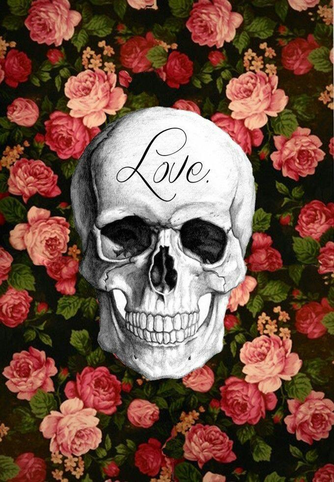 Populares Wallpaper Skull and Roses Papel de Parede Caveira e Rosas  EB46