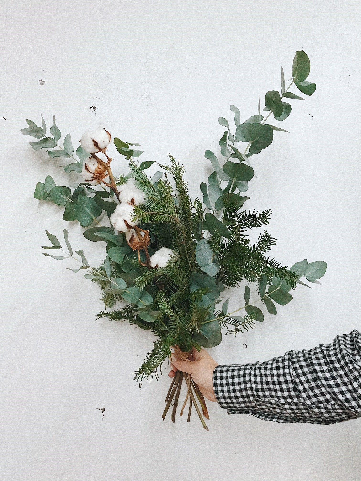 Bouquet De Sapinage Eucalyptus Et Fleur De Coton Flowers