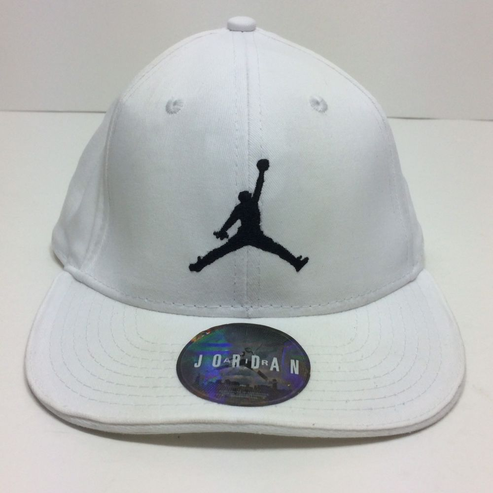 1362dbcddd0 Nike Air Jordan Baseball Cap Hat White w Black Jumpman Youth One Size  Adjustable