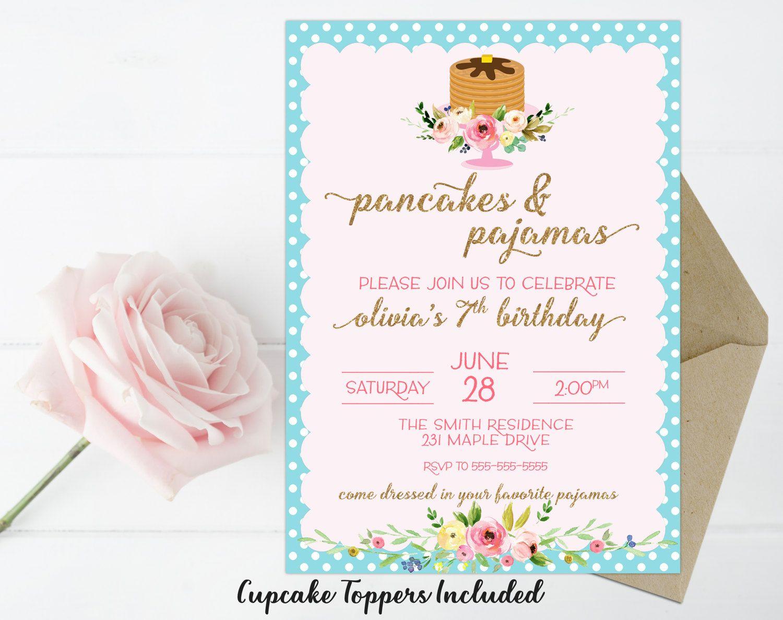 Pancakes & Pajamas Invitation, Pajama Party Invitation, Girls ...