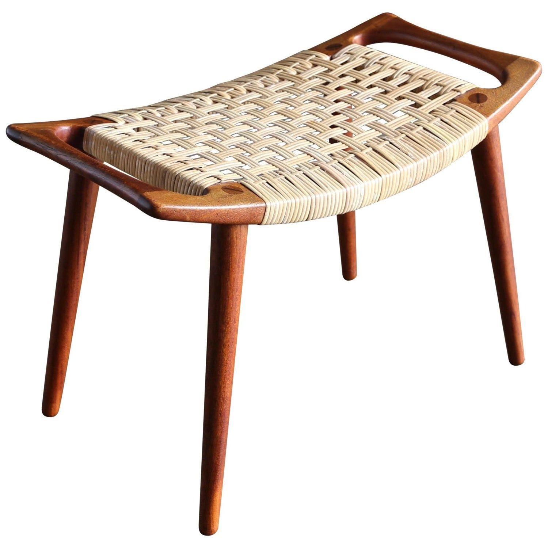 Hans Wegner Teak And Cane Stool For Johannes Hansen In 2020 Teak Stool Hans Wegner Furniture