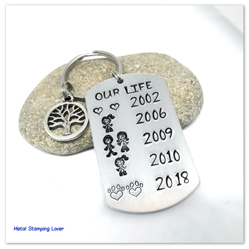Anniversary gift for husband Hand stamped Personalised keyring | Etsy