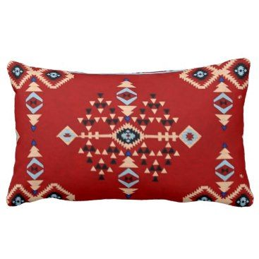 """Title : 29 Tribal Native American Red Symbolic Print.JPG Lumbar Pillow  Description : Words to describe Tribal; """"Native-American's, Indian, Tribes, """"Tribal-Prints"""", """"Geometric-Patterns"""", """"Miscellaneous-Shapes"""", Diamonds, Squares, Arrows, """"Repetitive-Patterns"""", """"Fabric-Weaving"""", Tapestry, Beads, """"Animal-Bones"""", """"Ethnic-Tribes"""", Cultural, Cultures, """"Southwest-Patterns"""", """"Animal-Pattern-Prints"""", """"Ethnic-Prints"""", Ganado, """"Native-Traditional-Patterns"""", Ikat, """"Navajo-Art"""", Weaving…"""