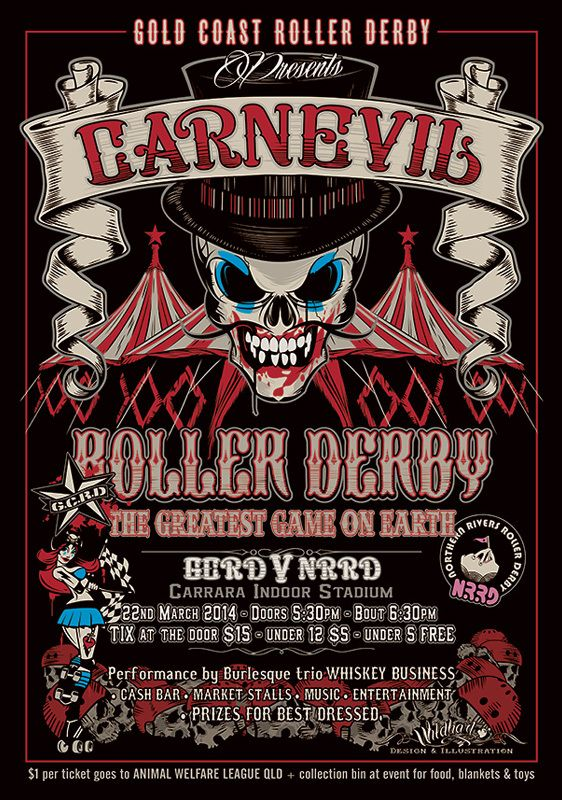 Carnevil Roller Derby Bout Poster 20 00 By Wildhart Studio