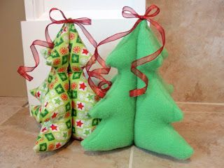 The Pursuit Of Happiness Festive Stuffed Christmas Trees Fabric Christmas Trees Ribbon On Christmas Tree Christmas Tree Decorations Ribbon
