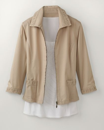 Love this jacket with 3/4 length sleeves. Ruched trim zip jacket #ColdwaterCreek