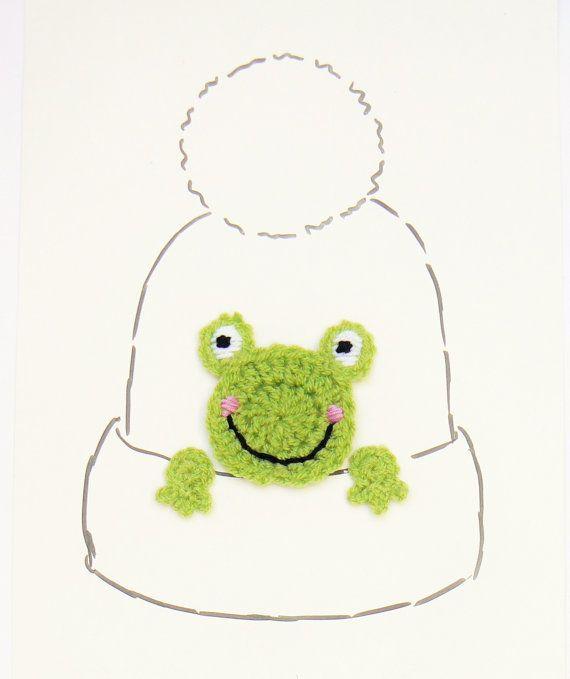 Frog Applique Crochet Frog Hat Applique Animal Motif Sewn by 2mice ...