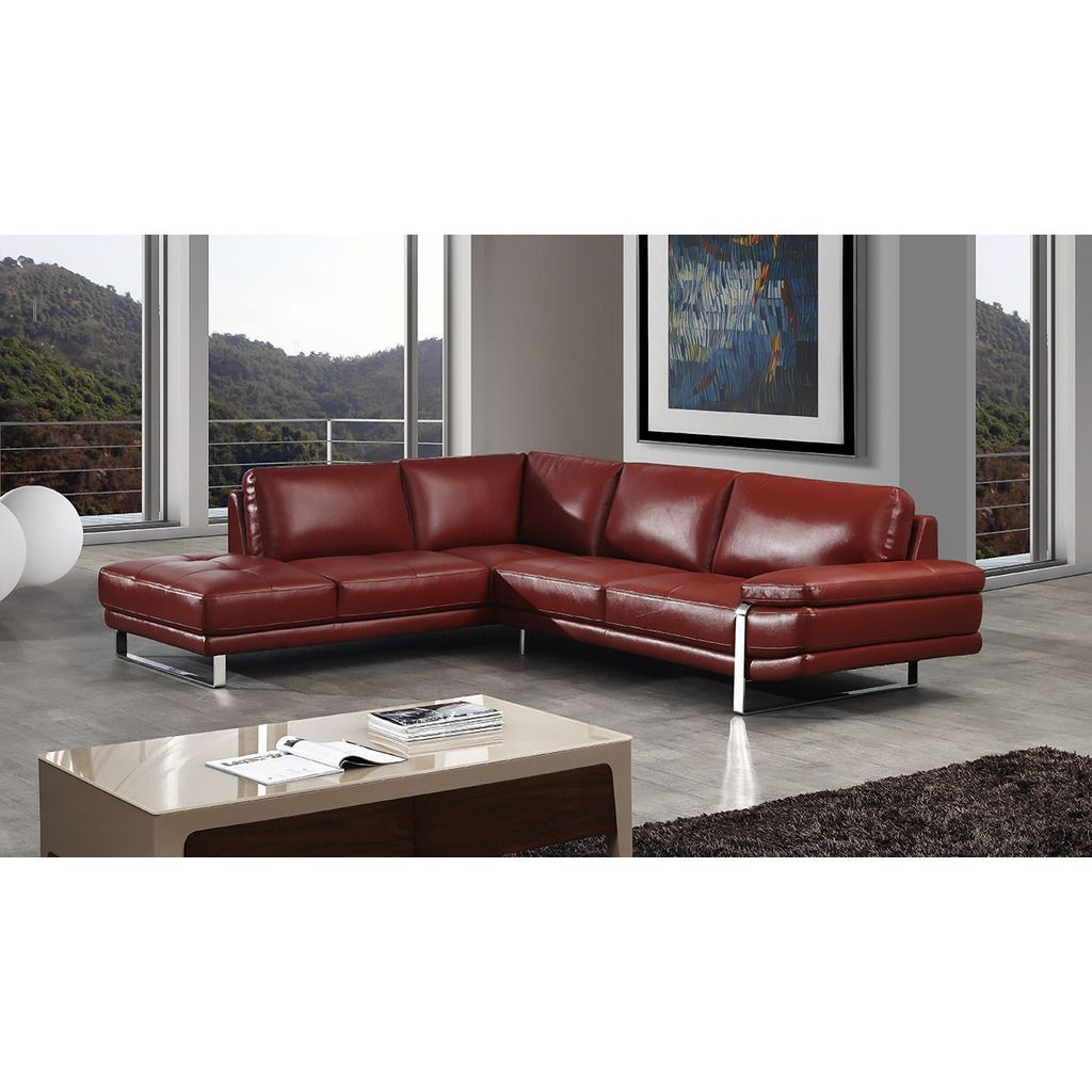 American Eagle Red Italian Leather Sectional - Right Chaise ...