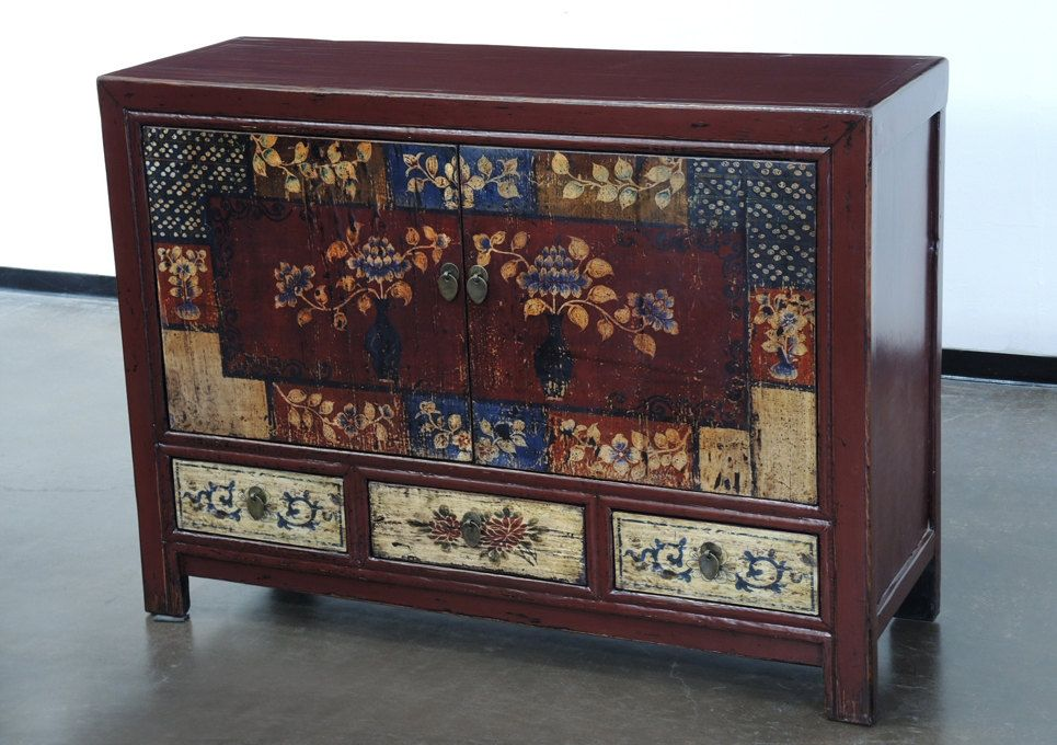 Hand Painted Vintage Mongolian Sideboard Cabinet By Terra Nova Furniture  Los Angeles By TerraNovaLA On Etsy