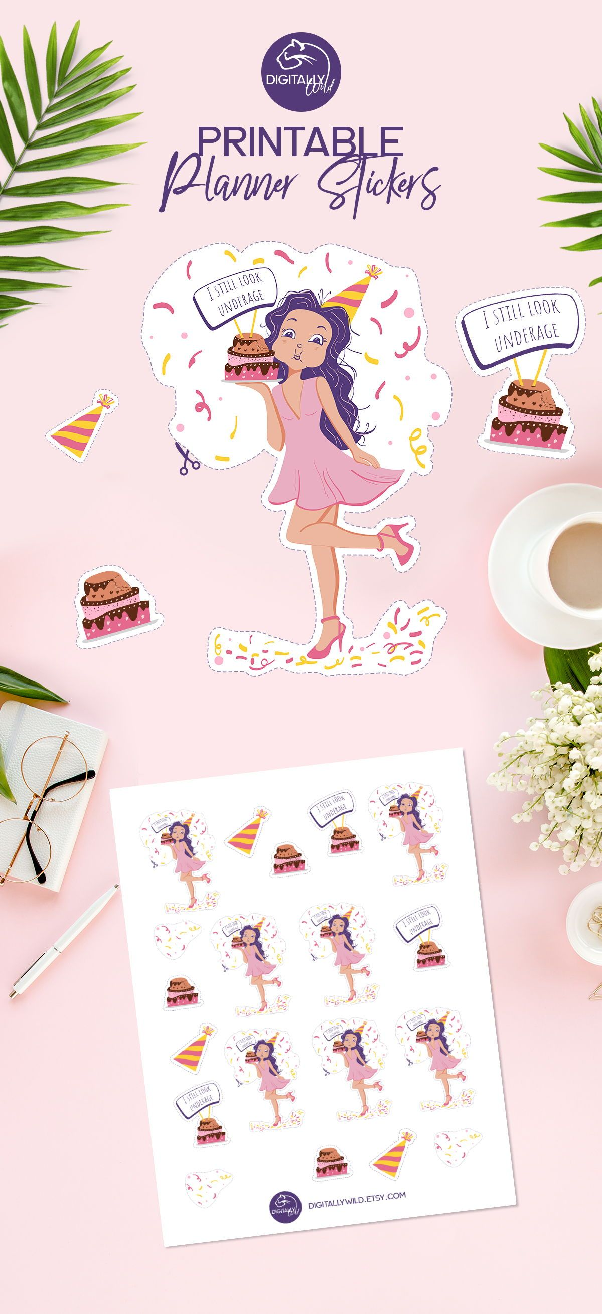 Birthday girl planner stickers birthday party cake printable