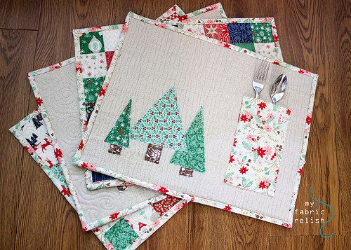 Fort Worth Fabric Studio Patchwork Pocket Placemat Tutorial Christmas Placemats Quilted Table Runners Christmas Diy Placemats