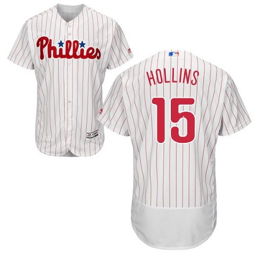 phillies 15 dave hollins white(red strip) flexbase authentic collection stitched mlb jersey