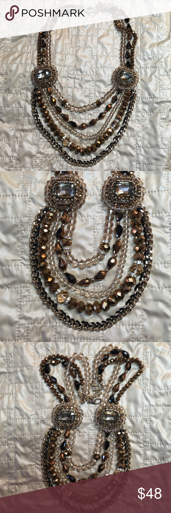 """Dressy Necklace gold and brown tones Dressy Necklace gold and brown tones.  Approximately 21"""" long x beads 3"""" wide.   Never been worn. Jewelry Necklaces"""