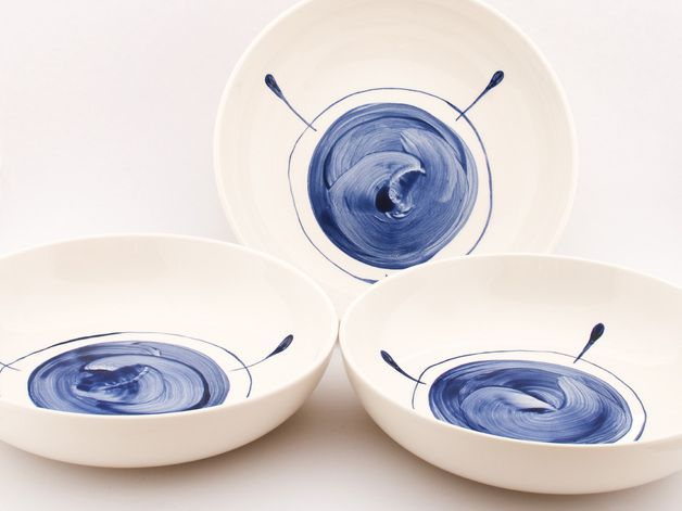 Perfect gift for cooks. Plates – Set of two simple modern Delft blue plates – a unique product by DeEersteKeramiekKamer via en.DaWanda.com