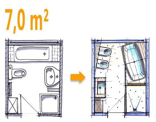 Badplanung beispiel 7 qm freistehend badewanne mit wc for Badideen grundrisse