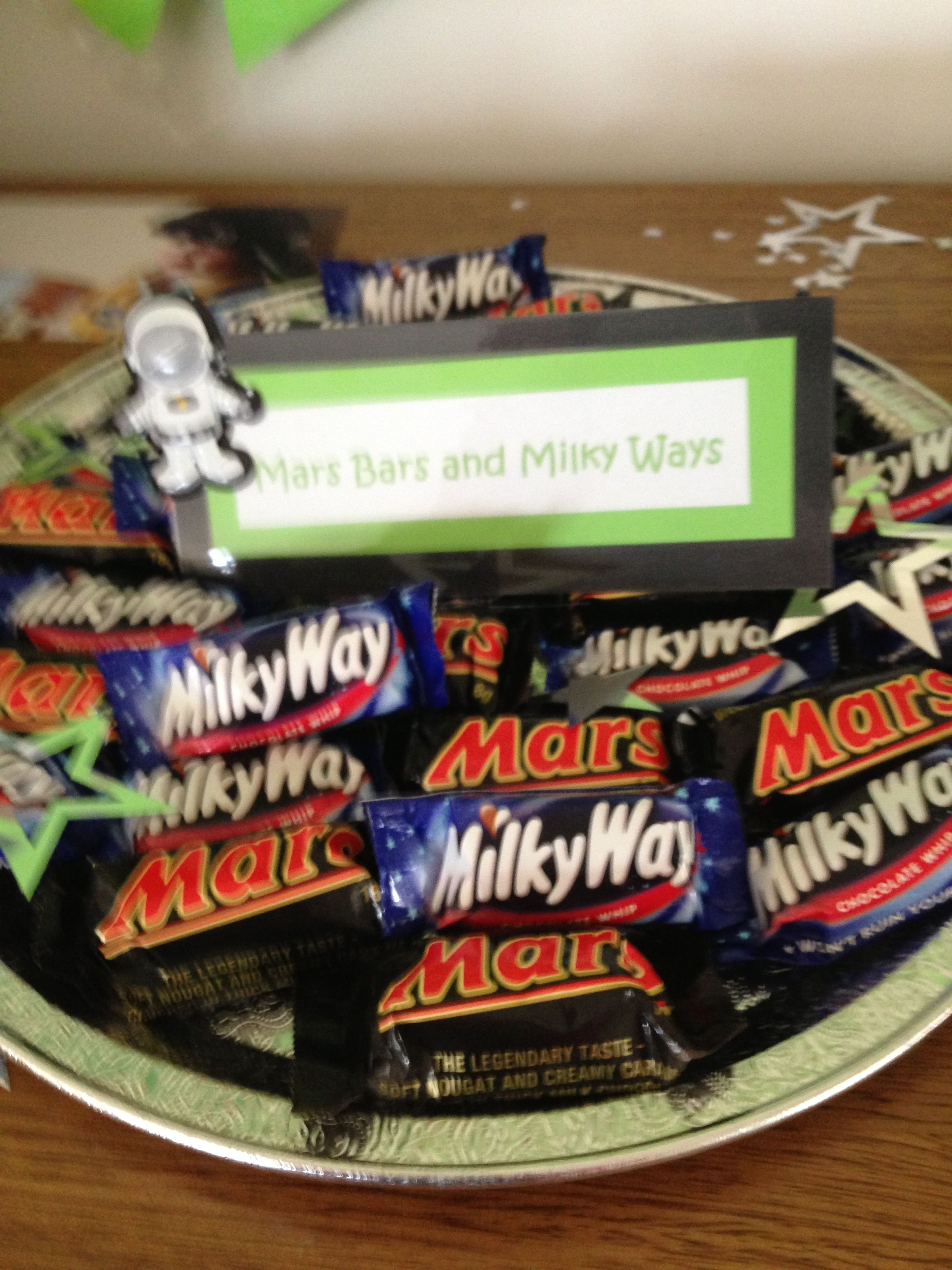 Mars bars and Milky Ways for space party Space party