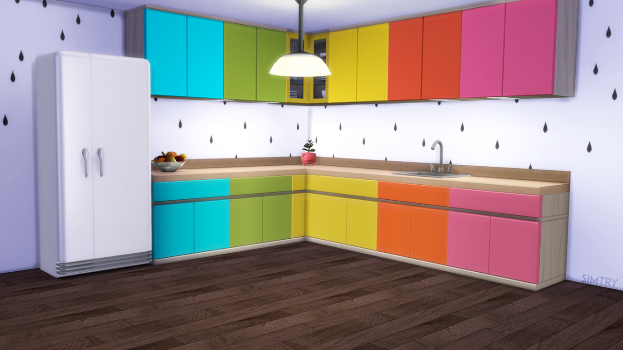 Maxis match cc for the sims 4 simtry brightly modern a for Cc kitchen cabinets