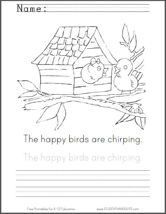 The happy birds are chirping children read trace and write the sentence in print manuscript or cursive script then color the picture