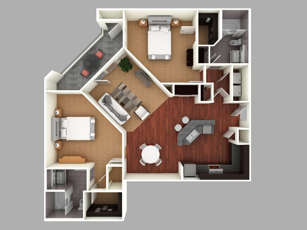 3d colored floor plan architecture colored floor plan for Small two bedroom apartment floor plans