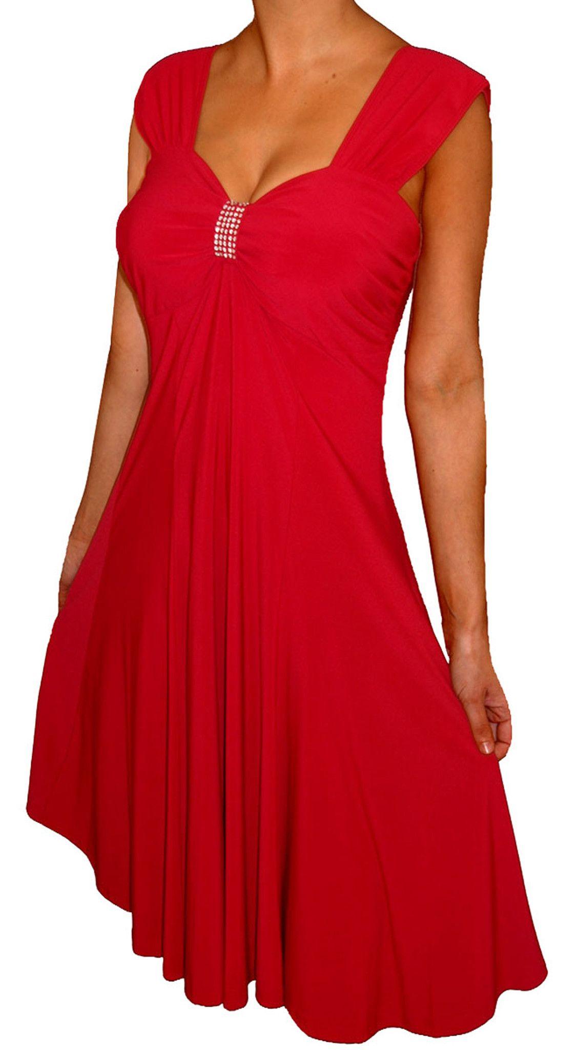 71c534b958 Funfash Plus Size Red Dress Slimming Empire Waist Cocktail Dress New W –  FunFash