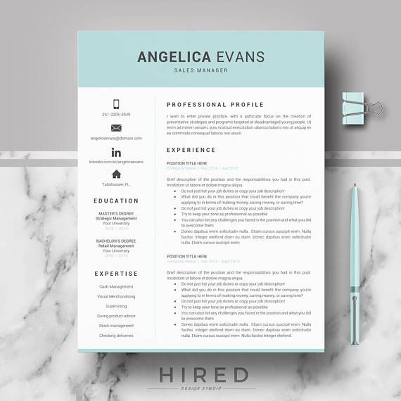 Modern Resume Template Professional Resume Cv For Word   Resume