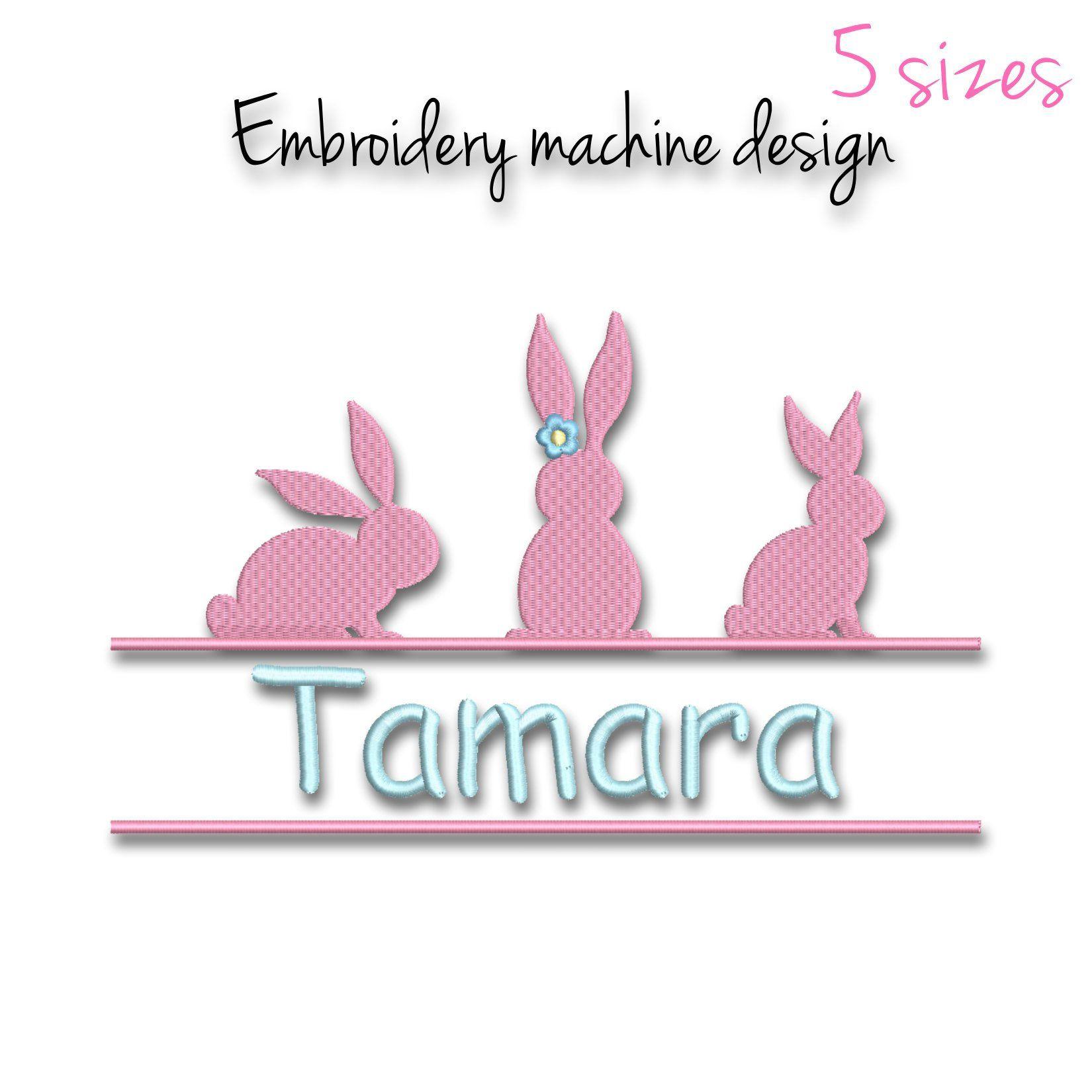 Easter split embroidery machine design monogram bunny