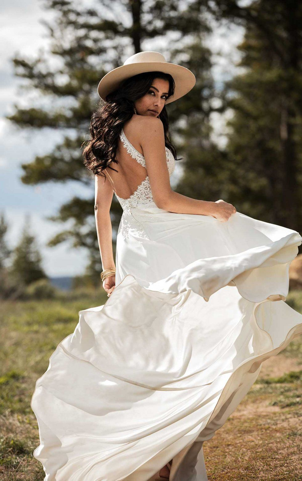 Simple Bohemian Wedding Dress With Removable Arm Cuffs All Who Wander Boho Bridal Gowns Wedding Dresses Affordable Wedding Dresses [ 1563 x 980 Pixel ]