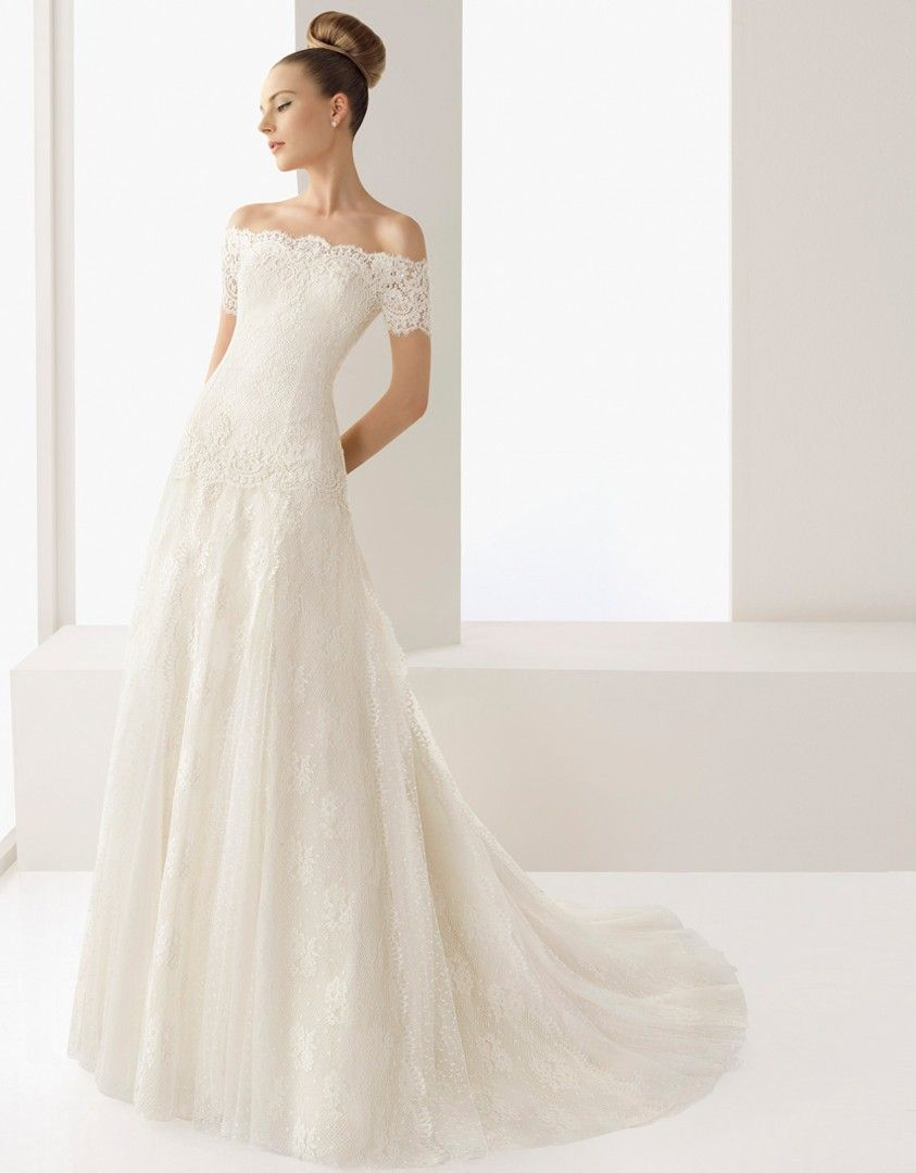Off The Shoulder With Short Sleeves Lace Wedding Dress 2012