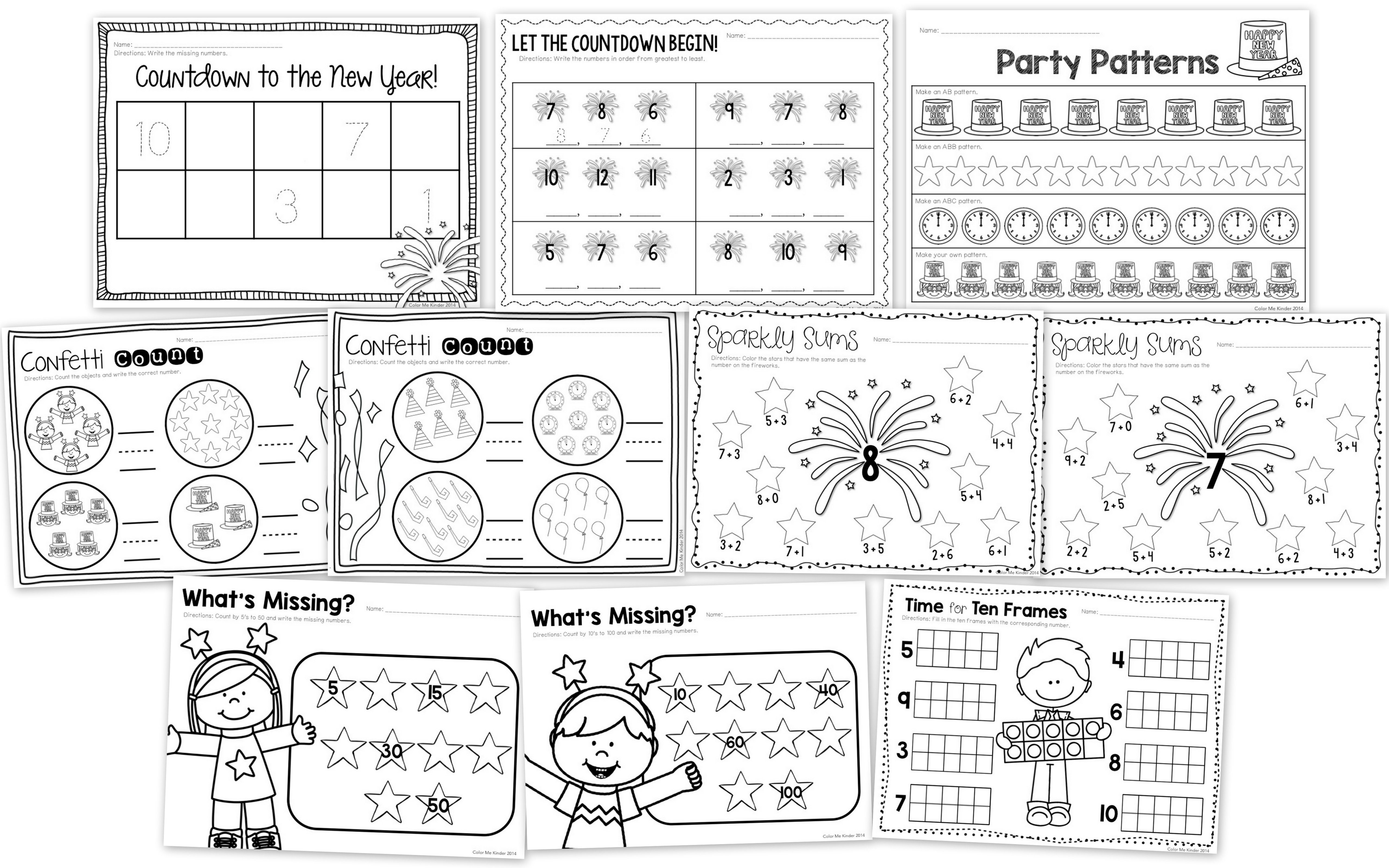 15 New Year S Themed Math Worksheets Kindergarten 1st