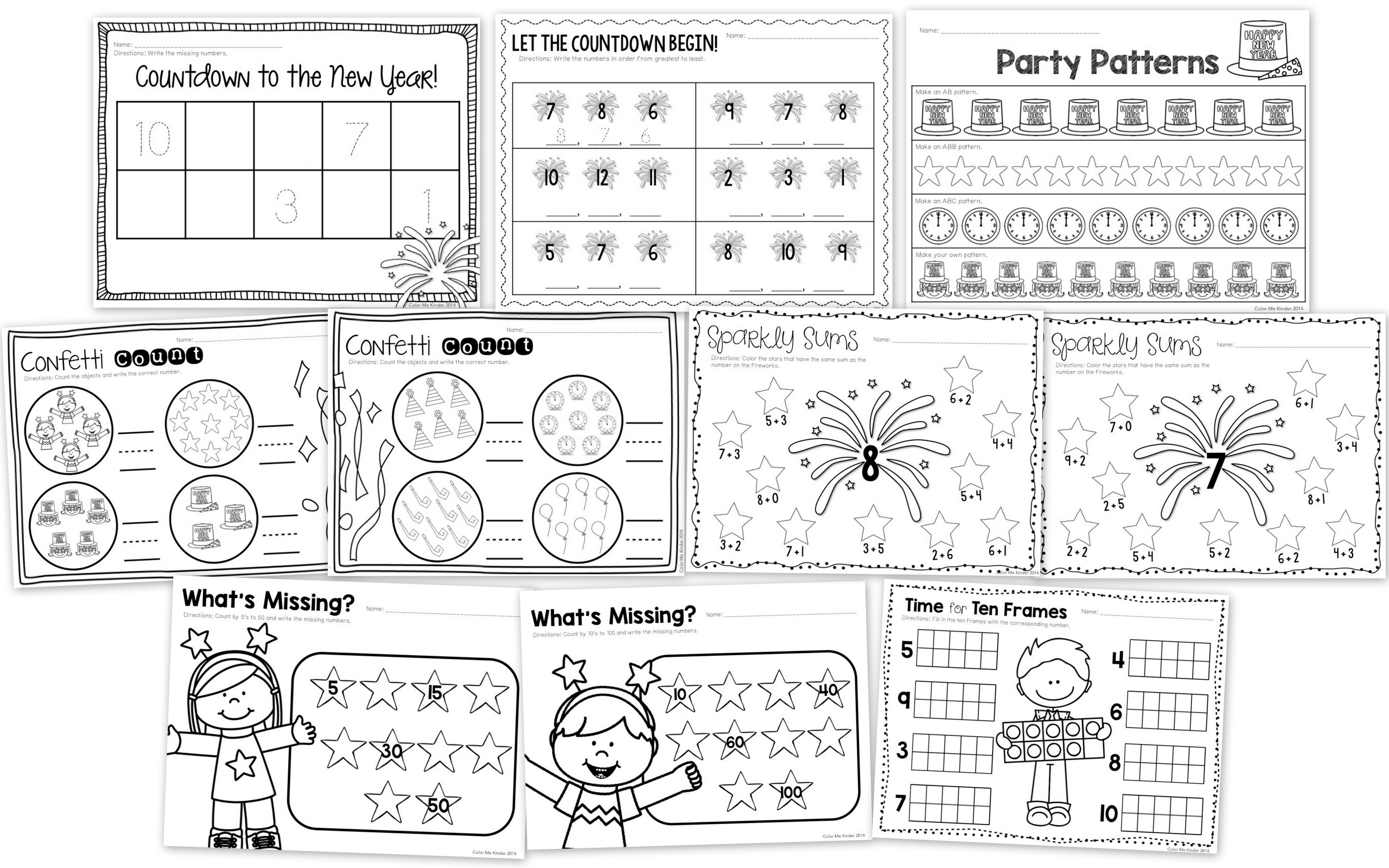 15 New Year S Themed Math Worksheets Kindergarten 1st