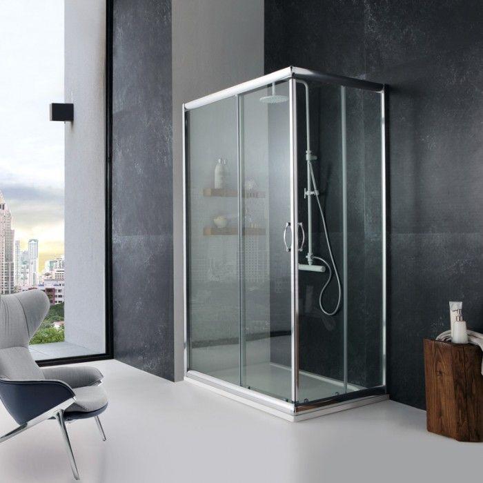 Box doccia 70x100 cm in cristallo trasparente 6 mm giada
