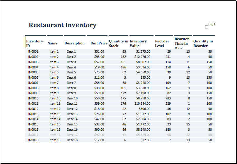 restaurant inventory template at http www xltemplates org