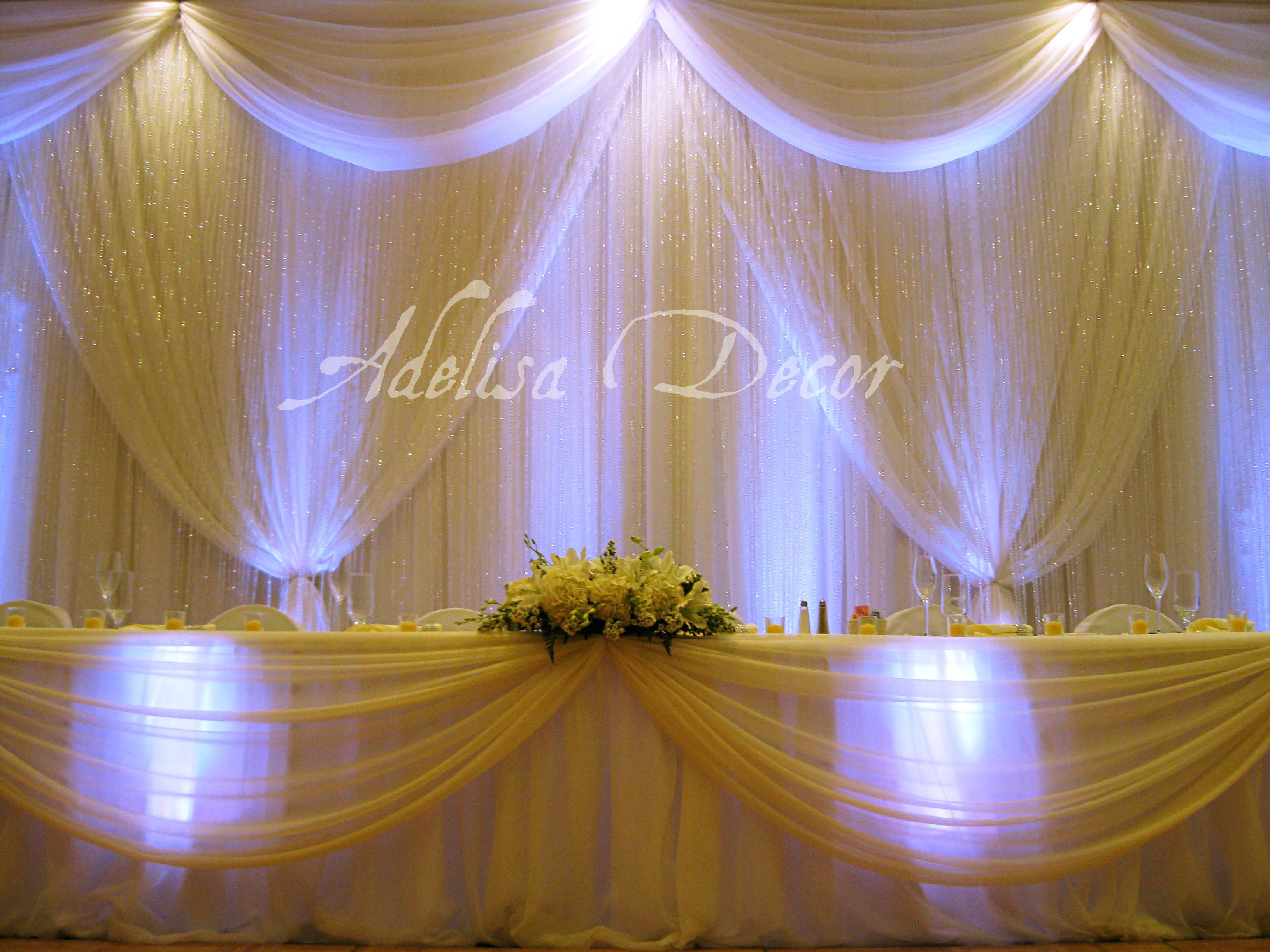Wedding reception drapes backdrops lighting on pinterest for Back ground decoration