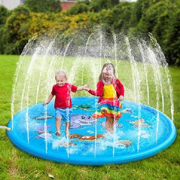 Sprinkle Splash Play Mat Large Inflatable Water Play Mat Gift Kids Paddling Pool