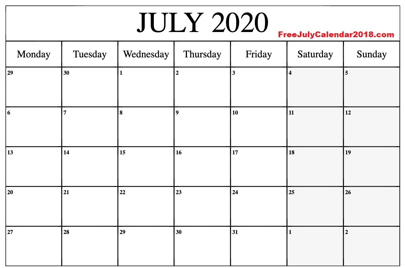 July 2020 Calendar Word Document In 2020 Calendar Printables