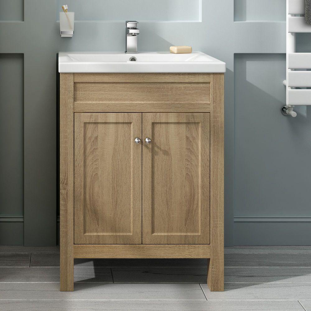 600mm Traditional Oak Bathroom Furniture Storage Vanity Unit Basin