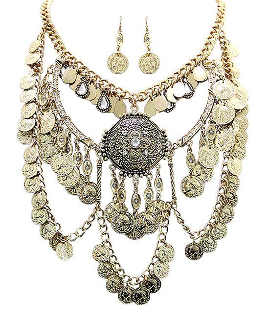 Rhinestone & Goldtone Turkish Bohemian Bib Necklace & Earrings