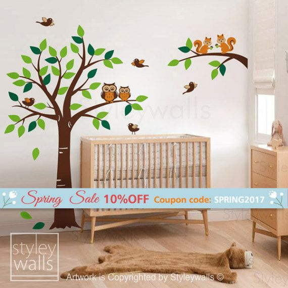 wald tiere baum wall decal woodland wall decal von styleywalls kinderzimmer pinterest. Black Bedroom Furniture Sets. Home Design Ideas
