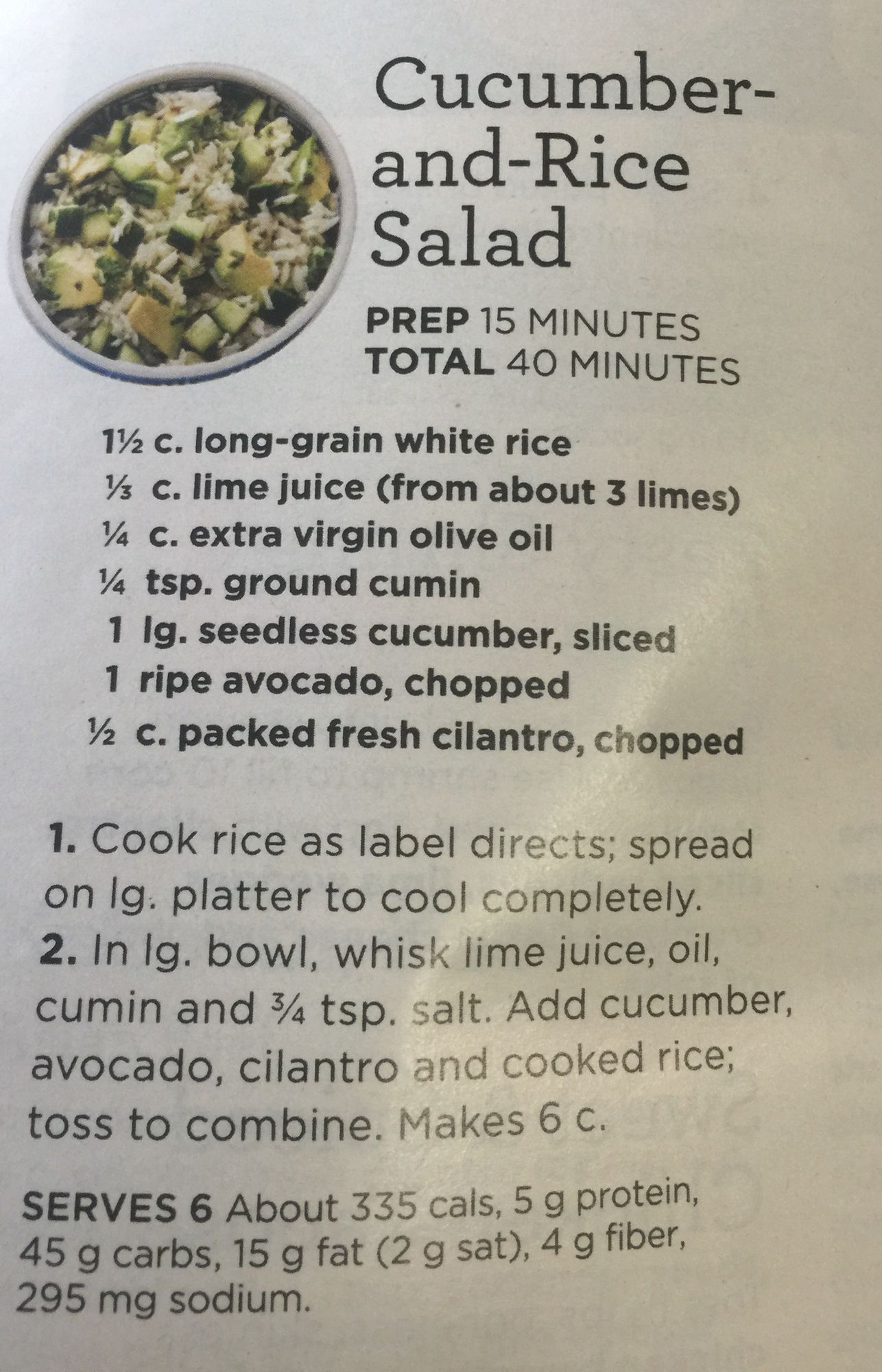 Cucumber And Rice Salad From Good Housekeeping Rice Salad Healthy Food Options Recipes