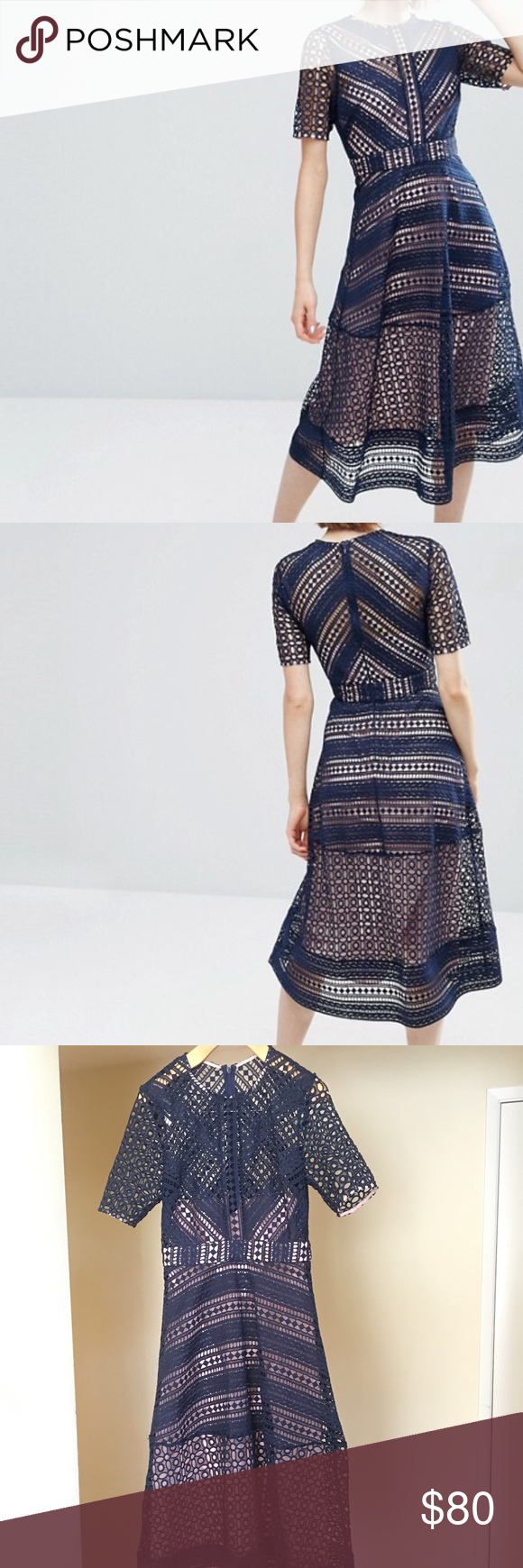 77ce1a393bd1 Asos Premium Occasion Lace Midi Dress in Navy NWT ASOS Premium Occasion Lace  Midi Dress in Navy Blue. Brand New never worn. Size 8 but runs small.