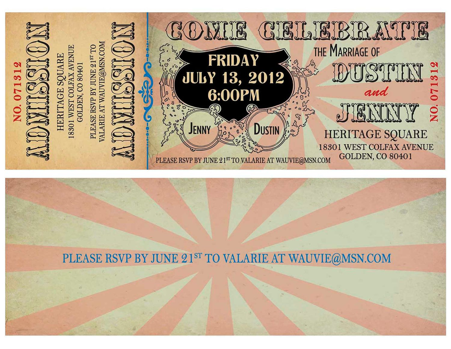 Circus Wedding Save the Date, Baby Shower Ticket Invitation ...