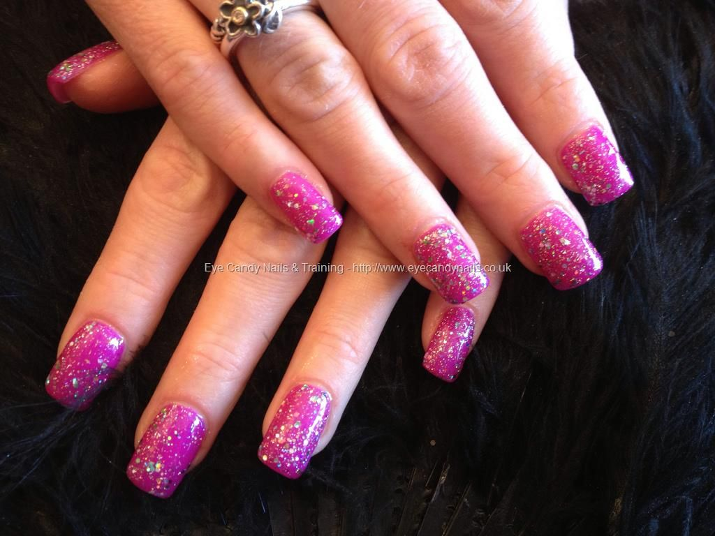 Full set of acrylic with pink gel polish with glitter on top | Nails ...
