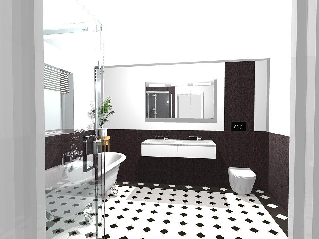 Black white art deco style bathroom bathroom styling