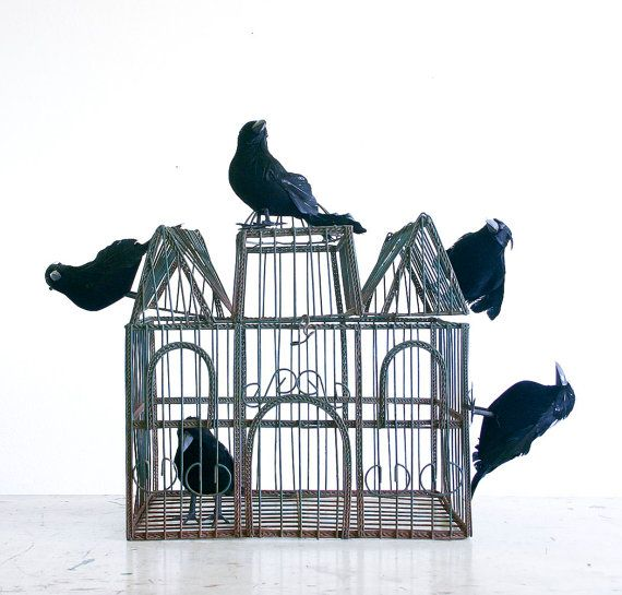 SALE Spooky Halloween Decor / Vintage Bird Cage by RobertaGrove