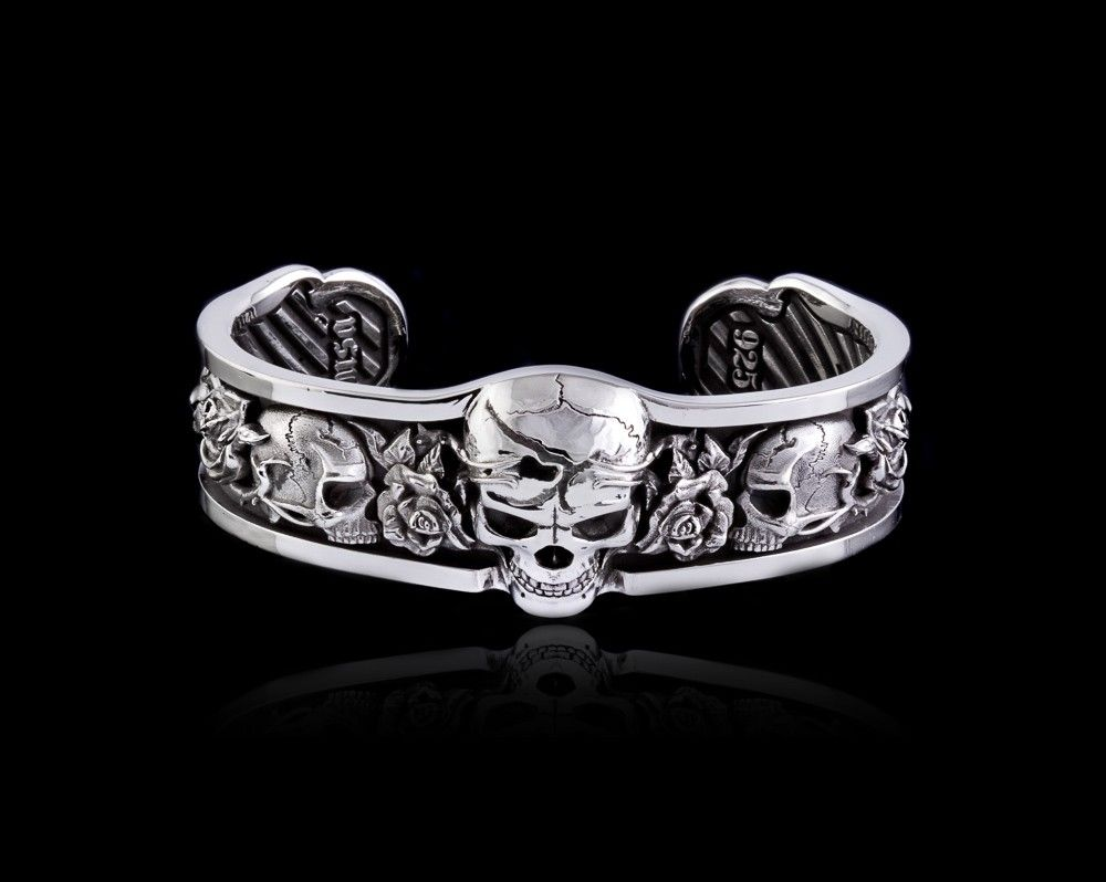 Roses cuff skull bracelet in sterling silver nightrider jewelry