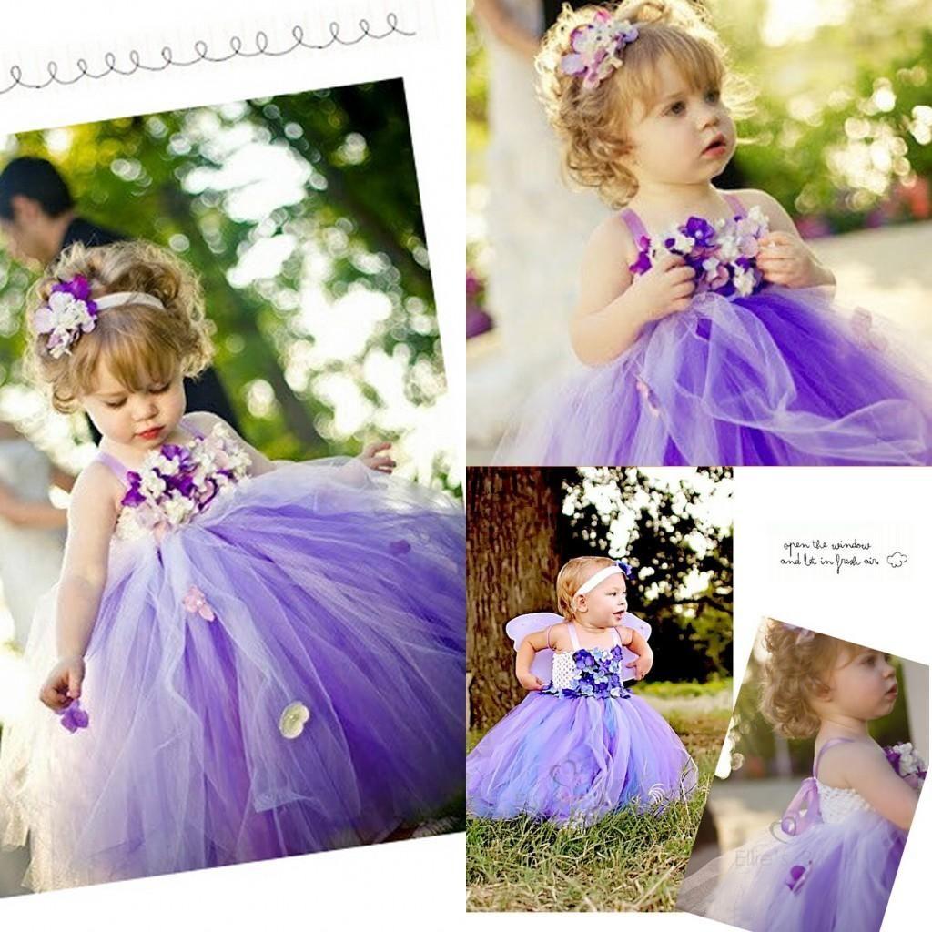 Purple Flower Girls Dresses 2015 Spaghetti Hand Made Flower A Line ...