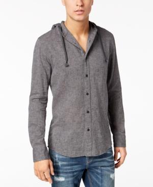 American Rag Mens Texture Hooded Button Down Shirt
