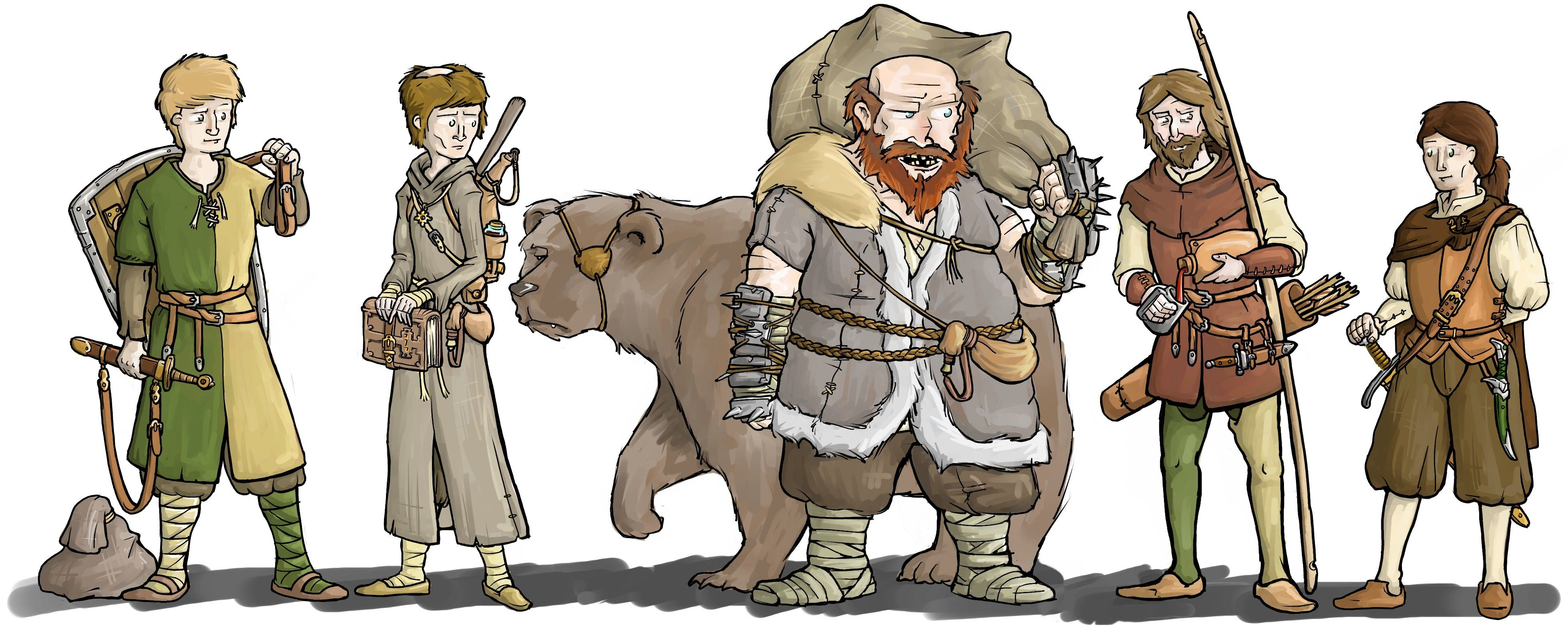 Adventuring party; fighter, mage/cleric, woodsman (with bear), archer and duelist. Made for a  http://stage-rpg.com/ campaign.