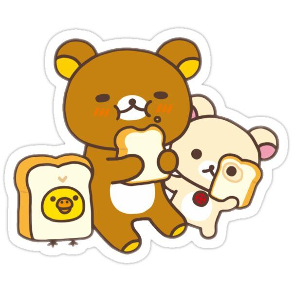 Decorate laptops, Hydro Flasks, cars and more with removable kiss-cut, vinyl decal stickers. Glossy, matte, and transparent options in various sizes. Super durable and water-resistant. rilakkuma, korilakkuma, and kiiritori eating bread