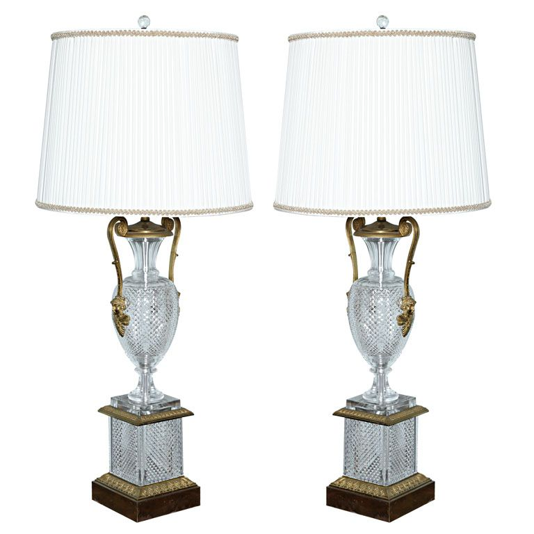 A massive pair of Baccarat  style cut glass lamps. | From a unique collection of antique and modern table lamps at http://www.1stdibs.com/furniture/lighting/table-lamps/